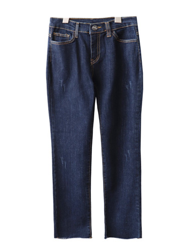 <br> Deep Blue stitch Straight denim span pants <br> [Return can not be exchanged]