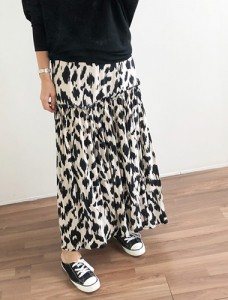 <br> Leopard Freel Long Banding Skirt <br><br>
