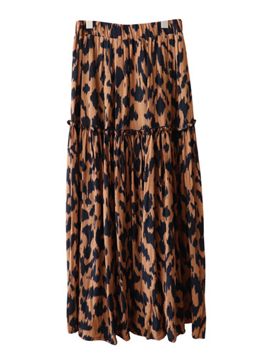 <br> Leopard Freel Long Banding Skirt <br><br>