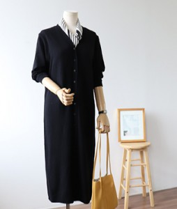 <br> Lamb Wool Button Straight Knit Dress <br><br>