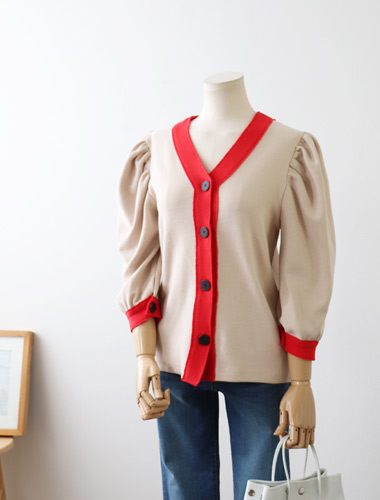 <br> Wangpuff color combination Cardigan <br> [Return can not be exchanged]