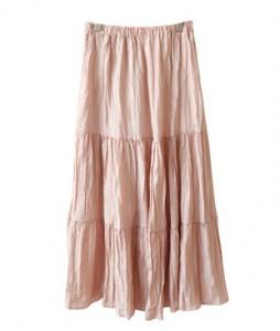 <br> Cream Wrinkle Banding Skirt <br><br>