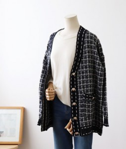<br> Shine Check Harp Cardigan <br><br>