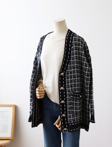 <br> Shine Check Harp Cardigan <br> <b><font color=#253952>Cardigan third place product</font></b>