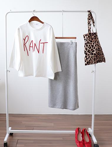<br> Back Banding Slim Cotton Skirt <br><br>