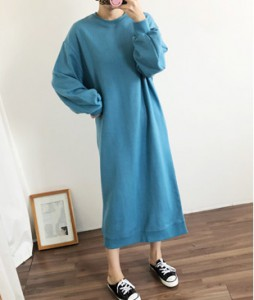 <br> Back Incision Man to man Long Dress <br><br>