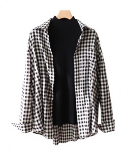 <br> Long Bunny Check Shirt <br> [Return can not be exchanged]