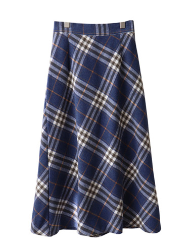 <br> Wool Check Flare Long Skirt <br><br>