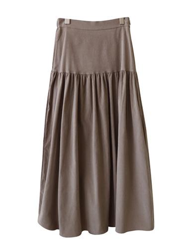 Corduroy Shirring Skirt <br>