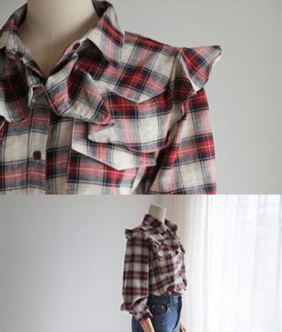 Rilyia check frill[942] shirt<br>
